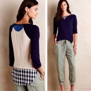 Anthropologie Little Yellow Button Backstory Tee